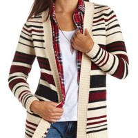 Chunky Striped Open Front Cardigan Sweater - Ivory Combo