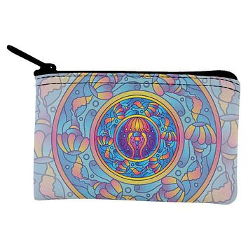 Mandala Trippy Stained Glass Jellyfish Coin Purse