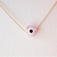 Clear Pink Evil Eye Necklace / Turkish Nazar Jewelry / Crystal Evil Eye Jewelry / Amulet Necklace / Protection /  N185