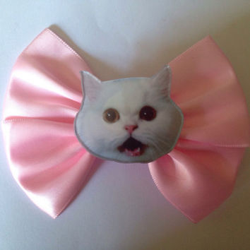 Cute Kitty Hair Bow Pastel Pink Kitten Cat Sweet Lolita Fairy Kei Kawaii
