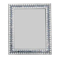Large Wall Mirror in Silver Gray and White