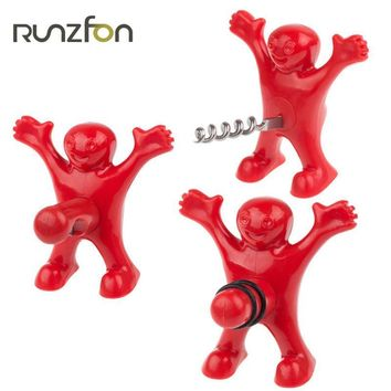 Funny Home Kitchen Bar Tools Red Happy Man Guy Wine Beer Bottle Plug Stopper Opener ABS Plastic+Silicon As Interesting Gifts