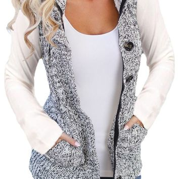 Women Heather Grey Cable Knit Hooded Sweater Vest