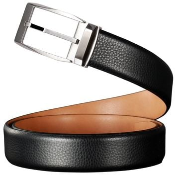 Men's Black Genuine Leather Belt with Stainless Steel