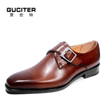 Guciter Goodyear shoes men Made-to-order shoe hand made genuine leather soles Customized order single shoe buckle monks