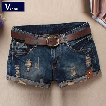 Hot Sale 2016 Summer Shorts Women Vintage Club Denim Shorts Sexy Hip Hop Skull Patch Loose Large Type Ripped Shorts Without Belt
