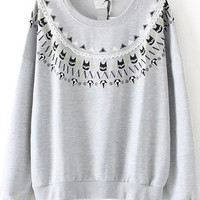 Grey Cats Print Long Sleeve Sweatshirt with Beads