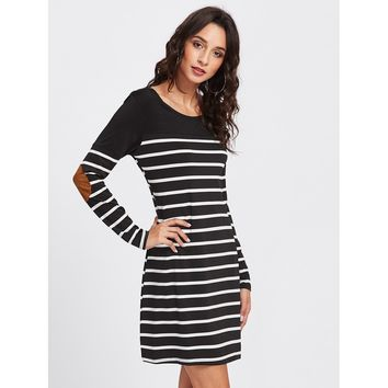 Elbow Patch Striped Tee Dress