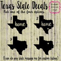 Texas Decals, State of Texas Decals, Texas Home Decal, Texas Car Decal, Texas Truck Decal, Texas Home Heart Decal, Lone Star State Decal