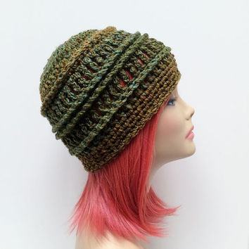 FREE Shipping - Unisex, Mens, Womens, Crochet Beanie Hat - Green, Blue, Yellow, Gold, Tan, Varigated