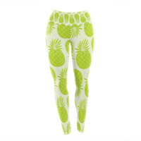 "Anchobee ""Pinya Lime"" Green Pattern Yoga Leggings"