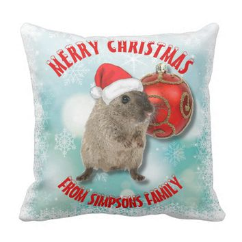 Christmas Funny Hamster Snowflakes Red Santa Hat Throw Pillow
