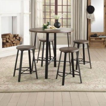 """Homelegance HE-5607-36RD 5 pc Chevre dark metal legs 36"""" round top counter height dining table set"""