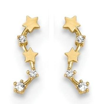 Tiny 14k Yellow Gold CZ & Stars Ear-Climber Earrings, 10mm