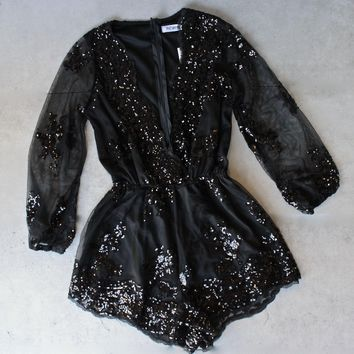 Reverse   Life Of The Party Black Sequin Romper