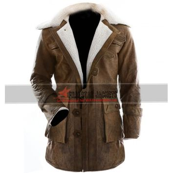 Winter Trench Fur Distressed Leather Coat