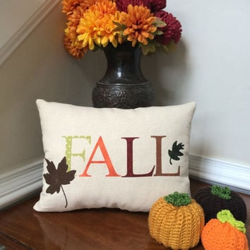 Fall pillow, Autumn pillow, Applique pillow