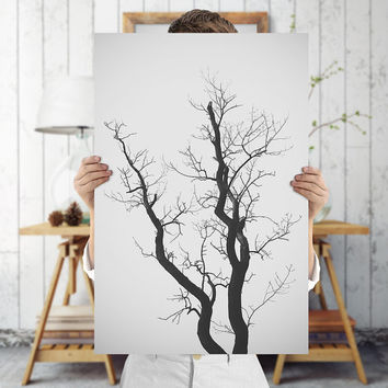 Nature Photography - Minimalist Tree Wall Art - Minimal Abstract Tree Branches Print - Black and White Tree Poster, Digital Download |