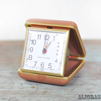 Vintage Westclox Travel Alarm Clock - vintage wind up travel alarm clock 1970s Retro