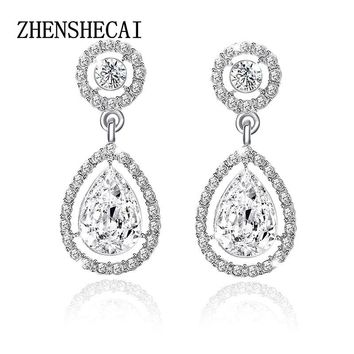 Crystal Teardrop Long Earrings Bridal Large Drop Earrings brincos for Women Fashion Wedding Jewelry boucle d'oreille e0252