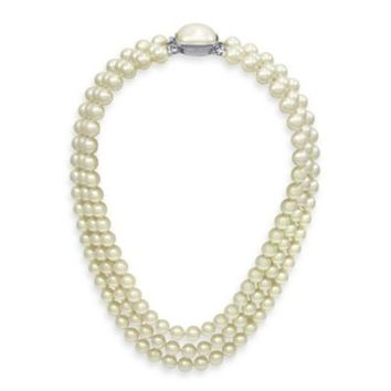 Majorica 8MM White Simulated Pearl 3-Row Necklace