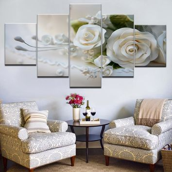 HOT SELL 5 Piece Wall Art Picture On Canvas Printed Painting Modern Modular Picture Lots Of Flowers White rose with frame