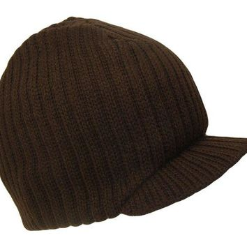 DCCK2JE Brown College Style Campus Jeep Visor Beanie Winter Knit Ski Cap Caps Hat Hats