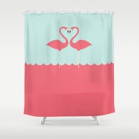 flamingo couple Shower Curtain by aBONNYday