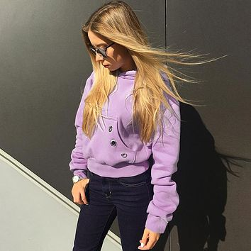 Women Casual Solid Color Pockets Hooded Sweater Long Sleeve Thickened Keep Warm Pullover Tops