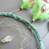 Dream Catcher - In the Grass - With Raw Citrine Gemstone, Green and Brown Feathers and Green Frame - Home Decor, Nursery Mobile