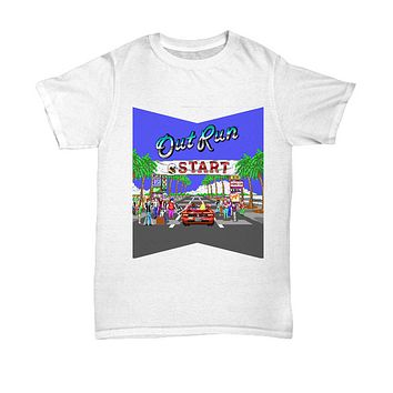 Out Run Car Arcade Vintage Video Game T-Shirt