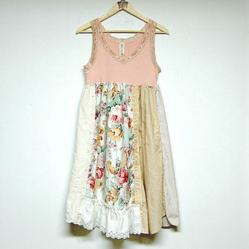 Large Shabby Boho Chic Dress, Mori Girl, Light Weight Cotton Sundress, Eco Upcycled Clothing, Anthropologie Inspired