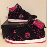 Custom Glittered Womens Baby Phat Sneaker Black and Pink size 9
