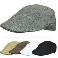 Womens Mens Newsboy Cap Flat Cabbie Linen Beret Duckbill Golf Driving Travel Caps Hat Boina Fashion Newsboy Beret Hat Autumn And Winter Hats = 1946806852