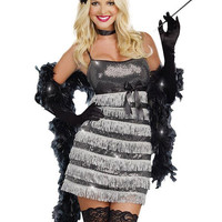 Silver Vixen Sleeveless Fringe Mini Dress with Scarf