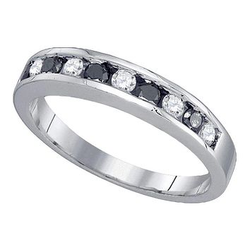10kt White Gold Women's Round Black Color Enhanced Diamond Band Ring 1/2 Cttw - FREE Shipping (US/CAN)