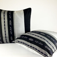 Black Ikat Pillow, Gift for Him, Men's Pillow Cases, Minimalist Home Décor, Modern Striped Ikat Cushion, Geometric Silk Pillow Case