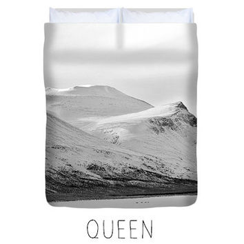 White duvet, white comforter, black and white, mountain duvet, mountain decor, minimalist bedroom decor, white bedspread, snowy, winter