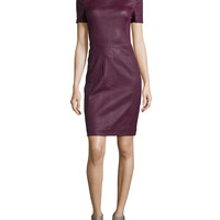Women's Fitted Leather-Front Dress, Bordeaux - Halston Heritage - Bordeaux (6)