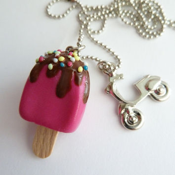 Popsicle Necklace Polymer Clay fake popsicle with by shimrita