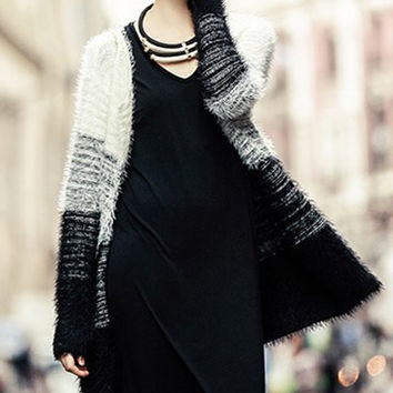 White and Black Long Sleeve Mohair Cardigan