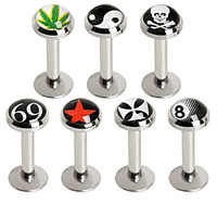 316L Internally Threaded Flat Logo Top Labret