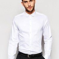 ASOS | ASOS White Shirt With Double Cuff In Egyptian Cotton In Regular Fit at ASOS