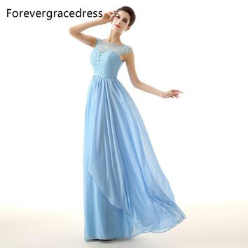 Forevergracedress Sky Blue Long Bridesmaid Dress Cheap A Line Lace Chiffon Wedding Party Dress Plus Size