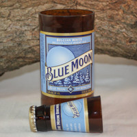 Unique Glassware Upcycled from BlueMoon Beer Bottles, Shot Glass, Drinking Glass, Blue Moon Gift Set