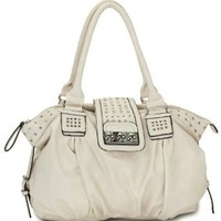 MG Collection Brenna Metal Studded Soft Leather Shopper Hobo, Beige, One Size