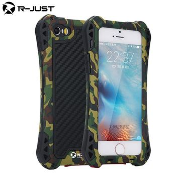 for iphone SE Powerful armor Carbon Fiber proof Splashing Water Metal mobile phone cover Case for iphone5 5s SE CASE with Glass