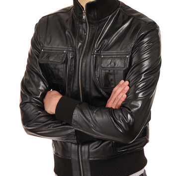Black leather jacket with straight ribbed collar