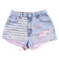 Remade Vintage Levis Denim Cut Offs Short by Batoko | Studded Denim Shorts | Batoko | BATOKO
