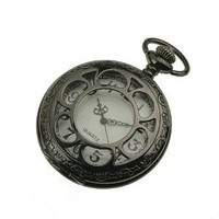 New Mens Black Stainless Steel Case White Dial Antique Pocket Watch with Chain